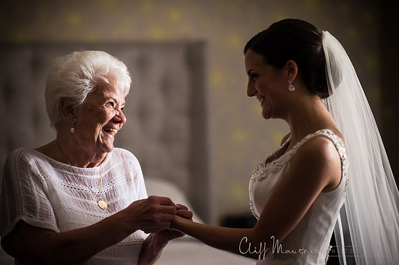 Crystal's grandmother seeing her for the first time on her wedding day